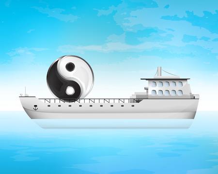 freighter: balance transfer on freighter deck transportation vector concept illustration