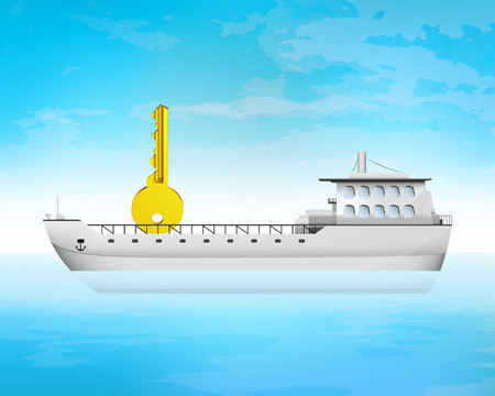 freighter: key to success on freighter deck transportation vector concept illustration