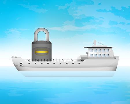 freighter: closed padlock on freighter deck transportation vector concept illustration
