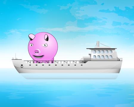 freighter: happy pig on freighter deck transportation vector concept illustration