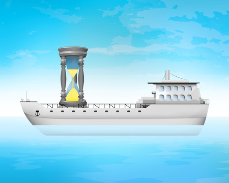 freighter: time counting on freighter deck transportation vector concept illustration