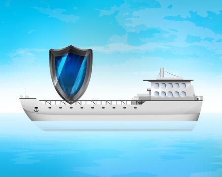freighter: safety shield symbol on freighter deck transportation vector concept illustration