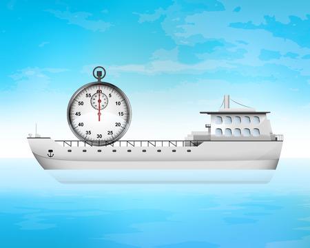 freighter: stopwatch timer on freighter deck transportation vector concept illustration