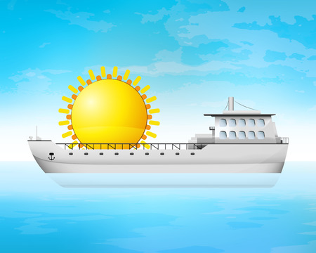 freighter: holiday sun behind freighter deck transportation vector concept illustration