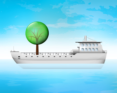 freighter: leafy tree on freighter deck as wood transportation vector concept illustration Illustration