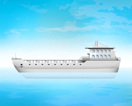 freighter: empty freighter deck transportation vector concept illustration Illustration