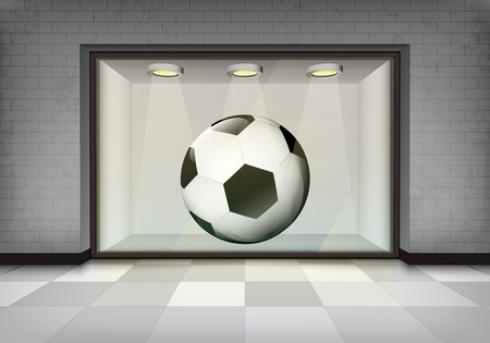 soccer ball in illuminated storefront vitrine vector concept illustration Vector