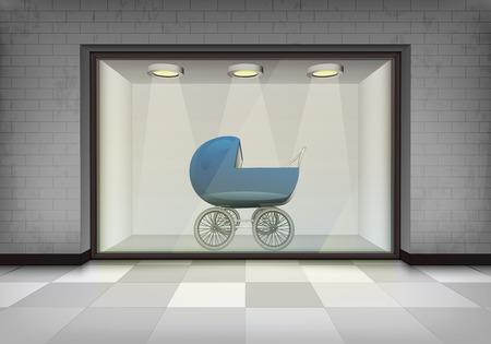 shopping buggy: boy pushchair in illuminated storefront vitrine vector concept illustration