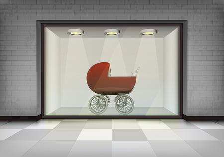 vitrine: girl pushchair in illuminated storefront vitrine vector concept illustration