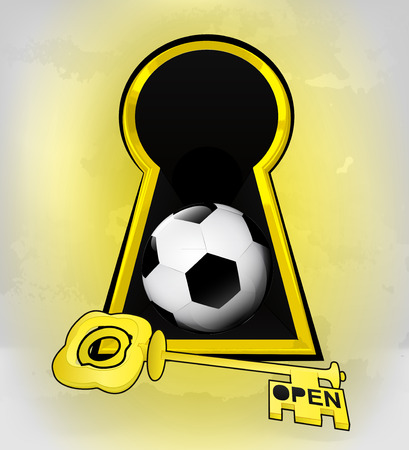keyhole golden football entrance with ball inside vector illustration Vector