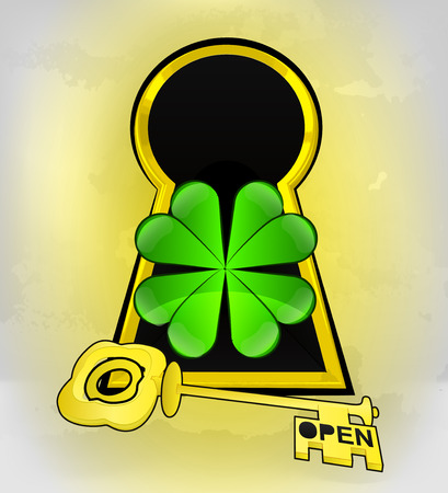 keyhole golden happiness entrance with cloverleaf inside vector illustration