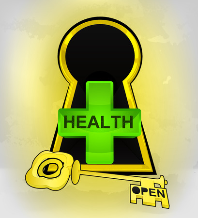 keyhole golden entrance to health behind vector illustration Vector