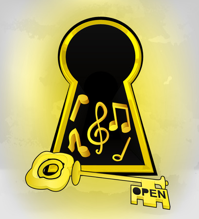 keyhole golden entrance with music sound inside vector illustration Vector