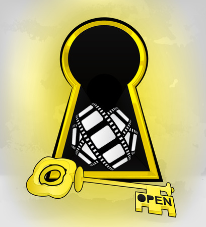 keyhole golden entrance with movie tape inside vector illustration Vector
