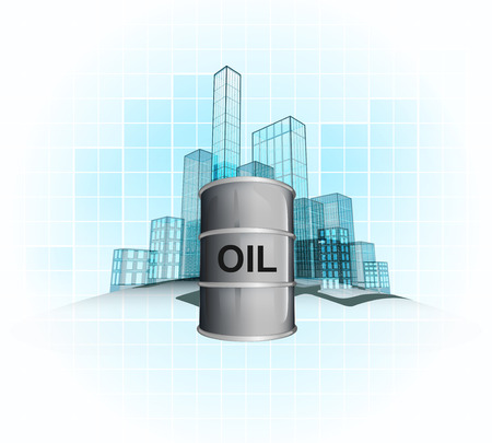 outdoor goods: oil business in modern office city district vector concept illustration