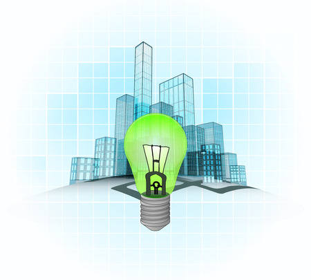 renewable energy of modern office city district vector concept illustration Vector