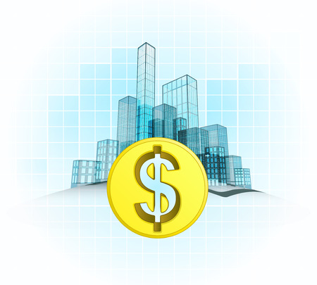 Dollar coin wealth of modern office city district vector concept illustration Vector