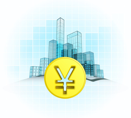 Yuan coin wealth of modern office city district vector concept illustration Vector