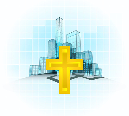 holy life in modern office city district vector concept illustration Vector