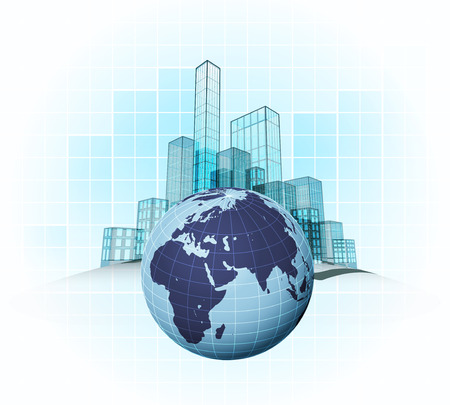 European countries modern office cities districts vector concept illustration Vector