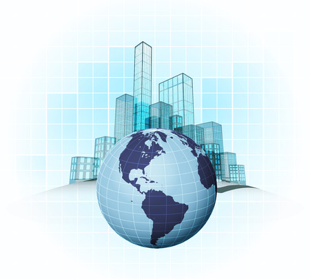 American countries modern office cities districts vector concept illustration Vector
