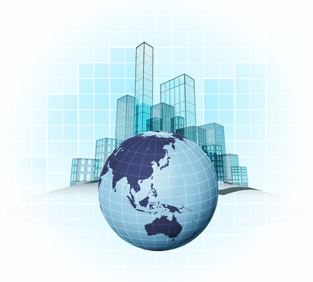 Asian countries modern office cities districts vector concept illustration Vector