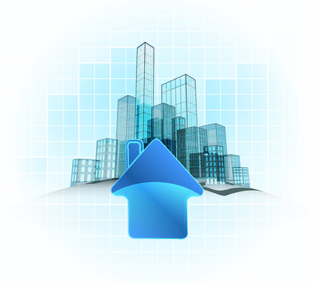 living in modern office city district vector concept illustration Illustration