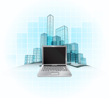 touchpad: laptop work in modern office city district vector concept illustration
