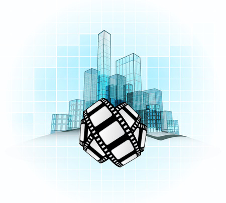screening: movie screening in modern office city district vector concept illustration