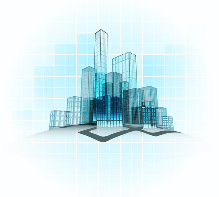 modern office vector city district with grid background vector concept illustration Vector