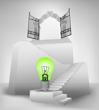 green bulb on stairway with entrance top concept vector illustration Vector