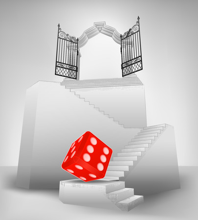 lucky dice on stairway with entrance top concept vector illustration Vector