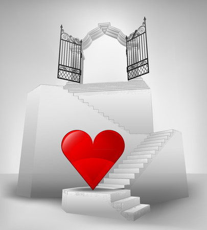 heaven love on stairway with entrance top concept vector illustration Vector