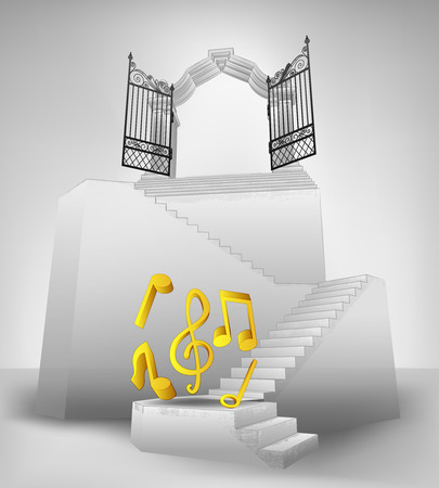 heaven music on stairway with entrance top concept illustration Vector