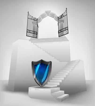 defend: security shield on stairway with entrance top concept illustration Illustration