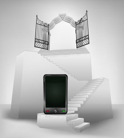 smart phone on stairway with entrance top concept illustration Vector