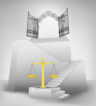 golden weight on stairway with entrance top concept illustration Vector
