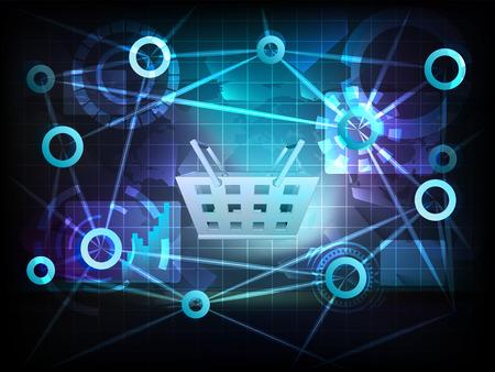 shopping basket in business world transfer network illustration Vector