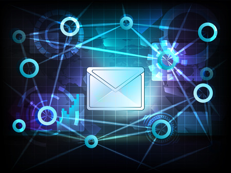 email message in business world transfer network illustration