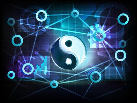 harmony symbol in business world transfer network illustration Vector
