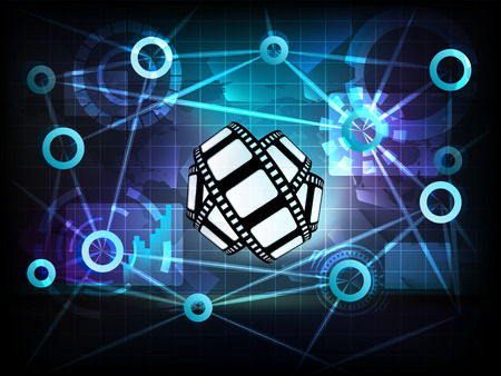 movie tape in business world transfer network illustration Vector