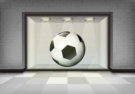 vitrine: soccer ball in illuminated storefront vitrine vector concept illustration