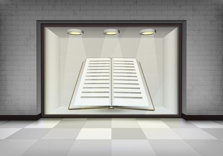 vitrine: new book in illuminated storefront vitrine concept illustration Illustration