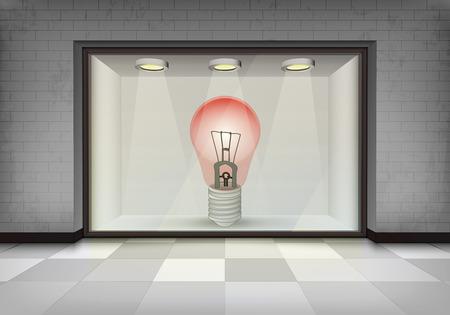 vitrine: red light bulb in illuminated storefront vitrine concept illustration Illustration