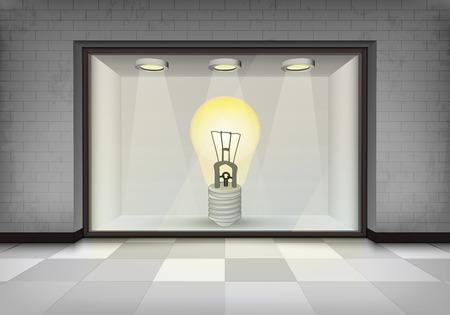 vitrine: electric bulb in illuminated storefront vitrine concept illustration