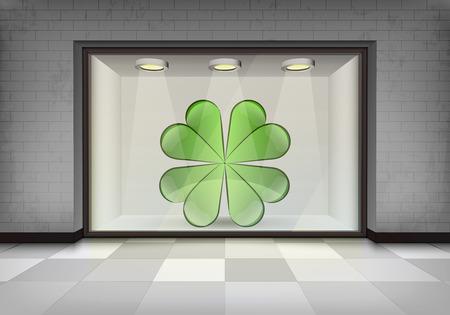 vitrine: happiness in illuminated storefront vitrine concept illustration