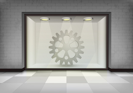 spare part: spare part shop in illuminated storefront vitrine concept illustration