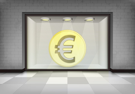 vitrine: euro shop business with illuminated storefront concept illustration