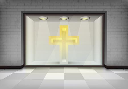vitrine: holy shop concept as illuminated storefront vitrine illustration