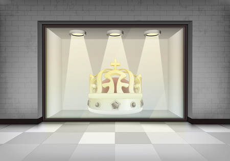 vitrine: royal shop at illuminated storefront vitrine concept illustration